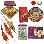 Three Modish Rakhi With Pooja Thali, Soan Papdi And  Lindor Chocolate. to Rakhi_to_newzealand.asp