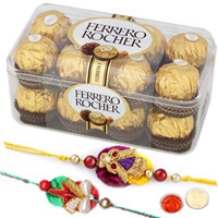 Beautiful Swastik Rakhi With Ferrero Rochers to Rakhi_to_newzealand.asp