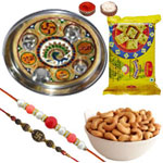 Selective Combo of 2 Rakhi With Meenakari Pooja Thali, Cashews And Soan Papdi to Rakhi_to_newzealand.asp
