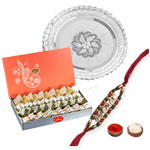 Attractive Rakhi With Silver Pooja Thali, Walnut N Assorted Mithai to Rakhi_to_newzealand.asp