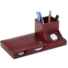 3 pcs Desktop Accessories Set made of genuine leather from Leather Talk to Gurgaon