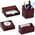 4 pcs Desktop Accessories Set made of genuine leather from Leather Talk to Gurgaon