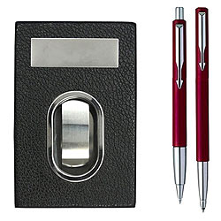 Graceful Combination of a Dashing Parker Vector Pen Set with Visiting Card Holder to Amalampuram