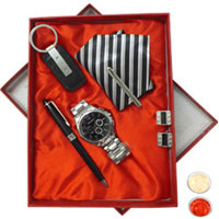 Gent�s Kudos-to-Gallantry Gift Hamper with free Roli Tilak and Chawal to Anand