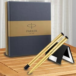 Marvellous Gift Set of Parker Vector Gold Trim Roller n Ball Pen with Visiting Card Holder to Agroli