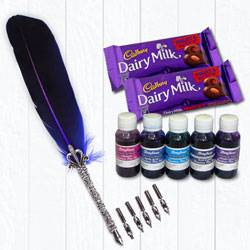 Exclusive Calligraphy Quill Set with Ink n Chocolates to Ambalamugal