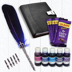 Marvelous Calligraphy Quill Set with Ink n Chocolates to Ambalamugal