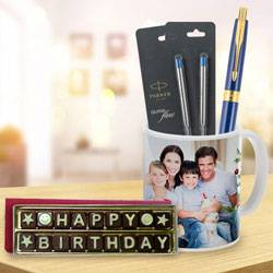 Splendid Parker Pen with Coffee Mug and Handmade Chocolate Combo to Ambalamugal