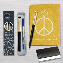 Appealing Parker Pen with Diary Planner and Visiting Card Holder Combo to Bagalur