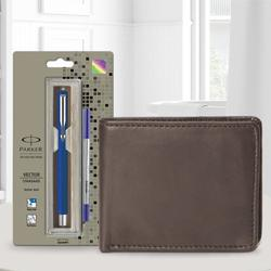 Exclusive Parker Vector Standard Ball Pen with a Brown Leather Wallet to Aalangulam