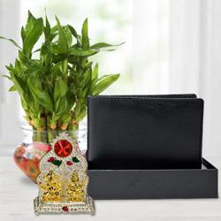 Classic Good Luck Bamboo Plant with a Gents Leather Wallet n Laxmi Ganesh Mandap to Bagalur