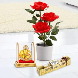 Budding Red Rose Plant with Chocolates N Ganesh Murti to India