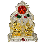 Silver Plated mandap with Golden Ganesh Laxmi Idol to India