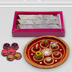 Beautiful Diwali Puja Thali to Varanasi