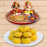 Worship platter with sweets to Gajraula