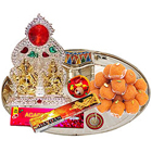 Ganesh Lakshmi Idols with Silver Plated Thali and Pure Ghee Ladoo to India