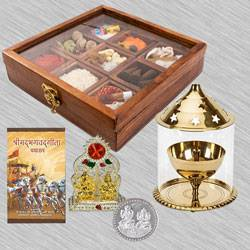 Delightful Housewarming Puja Gift in Wooden Box to Agroli