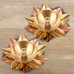 Marvelous Set of Two Lotus Shaped Diya to Adra