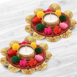 Auspicious Dual Set of Mix Color Flower Design Diya to Agroli