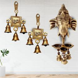 Remarkable Ganesha Wall Hanging Deepak with Bells N Shubh Labh Hanging Bells to Aizawl