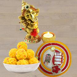 Exclusive Ganesha Idol with Boondi Ladoo N Thali<br> to Agroli