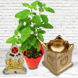 Exclusive Diya with Tulsi Plant N Ganesh Laxmi Mandap to Agroli