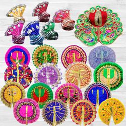 Marvelous 6 Pcs Ladoo Gopal Dress Set with 6 Pcs Pagdi to Adra