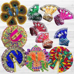 Exclusive Pack of 5 Laddu Gopal Dress with Jewellery Set N 6 Pcs Pagdi to Agroli