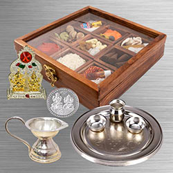 Reusable Wooden Box of Complete Puja Samagri to Agroli
