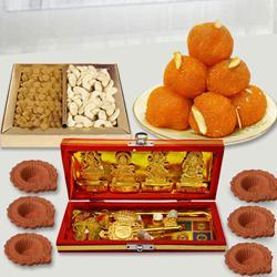 Special Dhan Laxmi Kuber Yantra with Dry Fruits n Chocolates, Free Diya to Agroli