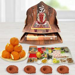 Pious Wooden Temple Gift Combo for Pooja to Agroli