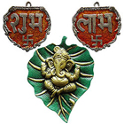Auspicious Metallic Ganesha and Subh Labh Wall Hanging Set to India