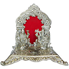 Metallic Silver colored Pious Laxmi Ganesh in a designer Mandap and Diya to Baga