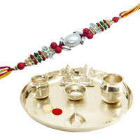 Free Rakhi, Roli Tilak and Chawal and Ethnic Silver Plated Pooja Thali  to Ahmadnagar