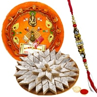 Stylish Pooja Thali along Haldirams Sweets with Free  Rakhi, Roli Tilak and Chawal  to Cochin