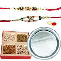 Free Rakhi, Roli Tilak and Chawal with Yummy Mixed Dry Fruits and Elegant Pooja Thali  to Ariyalur
