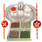 Splendid Pure Silver Thali along with Dry Fruits, 2 Free Rakhi, Roli Tika and Chawal to Bangalore