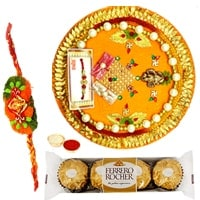 An Exclusive Rakhi Gift with Ferreo Rocher Chocolates Pack along with Special Pooja Thali with Free Rakhi, Roli Tilak and Chawal to Bangalore