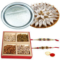 Free Rakhi, Roli Tilak and Chawal with Silver Plated Thali, Haldiram Kaju Katli and Dry Fruits to Ariyalur