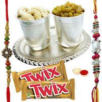 Pooja Thali  having free Rakhi, Roli Tika and Chawal along with Parker pen, Twix Chocolate to Cochin