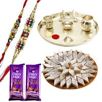 Silver Plated Rakhi Thali with Raymonds Gift  Voucher and Haldiram Kaju Katli Delight  along with 2 free Designer Rakhi, Roli , Tilak and Chawal to Ahmadnagar