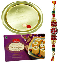 Haldiram Soan Papri  with beautiful Gold Plated Thali and free Rakhi, Roli Tilak and Chawal to Bangalore