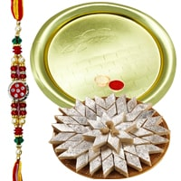 Haldiram Kaju Katli with Golden Plated Thali and  Free Rakhi, Roli Tilak and Chawal  to Bangalore