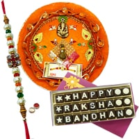 Designer Thali With delicious Homemade 27 Pcs Rakshabandhan Chocolates to Bangalore