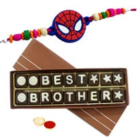 Best Brother Chocolate Pack (18 pcs) with Spiderman Rakhi and Roli Tilak Chawal to Tirunelveli