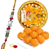 Haldiram Laddoo and Designer Pooja Thali along Rakhi, Roli Tilak and Chawal to Ahmadnagar