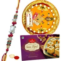 Haldiram Soan Papri and Designer Pooja Thali along Rakhi, Roli Tilak and Chawal to Bangalore