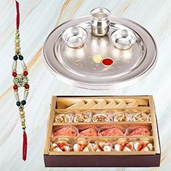 Haldiram Assorted Sweets and Stylish and Trendy looking Silver Plated Paan Shaped Puja Aarti Thali (weight 52 gms) along Rakhi, Roli Tilak and Chawal to India