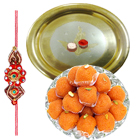 Haldiram Laddoo and Gold Plated Puja Thali along Rakhi, Roli Tilak and Chawal to Cochin