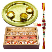 <font color=#FF0000>Haldiram</font>s Assorted Sweets N Silver Plated Rakhi Thali to Bangalore